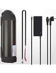 E-Bike Akku Kit, Elektrofahrrad, Pedelec, 36V 10Ah (=360Wh) Li-Ion-Akku, Trinkflaschenakku mit Halterung und Ladegerät in schwarz