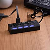 #10: KIMAMIK 4 Port Usb Hub 2.0 Ultra Speed With Individual On/Off Switches And Led Light-Black