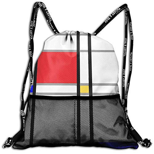 Jxrodekz Personalized Mondrian Drawstring Sports Nackpack with Mesh Pocket Cinch Bags