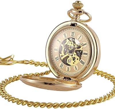 ManChDa® Antiguo Cazador de doble Mecánica Reloj de bolsillo para los hombres Mujeres Elegante caja grabado Esfera esqueleto retro con cadena + Caja regalo