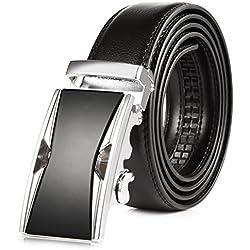 VBIGER Cinturón Cuero Cinturones Hebilla Automática (un tamaño, Negro 25)