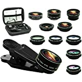 Bostionye 11 in 1 Phone Camera Lens Kit, 0.63Wide Angle lens+15X Macro+198°Fisheye+2X Telephoto+Kaleidoscope3/6+CPL/Flow/Star/Radial Filter/Universal clip,for iPhone Samsung Huawei Andriod Smartphone