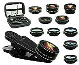 Bostionye 11 in 1 Phone Camera Lens Kit, 0.63Wide Angle lens+15X Macro+198°Fisheye+2X Telephoto+Kaleidoscope3/6+CPL/Flow/Star/Radial