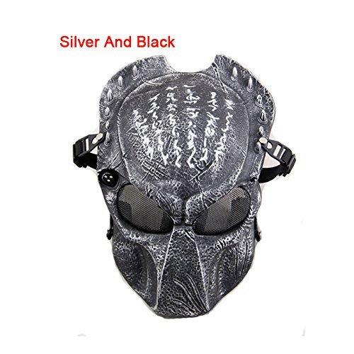 hutzmaske für Paintball- und Softair-Spiele, auch als Maske für Verkleidungen verwendbar, Predator-Design, vollständige Gesichtsbedeckung, erhältlich in 8 verschiedenen Farben  , silberfarben / schwarz (Halloween-tag In Großbritannien)
