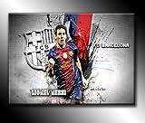 Von Canvas35Lionel Messi Fc Barcelona Fußball 76,2x 50,8cm Kunstdruck Bild Poster, aufhängfertig, Leinwand, mehrfarbig, 127x 50x 4cm