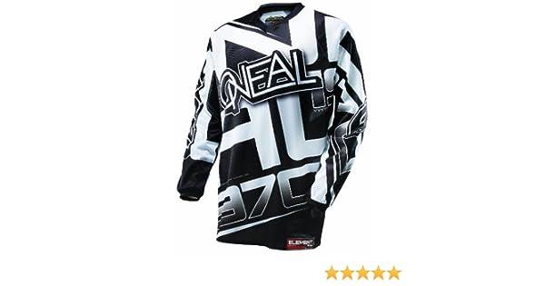 0016r 10 O Neal Element Jersey Racewear Nero Bianco Moto Cross Downhill Motor Ciclismo DH MX