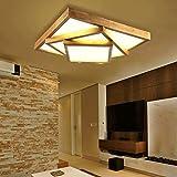 FHK, De estilo japonés luz lámpara del salón troncos de madera nórdicos iluminación de la lámpara del dormitorio de madera del sitio llevaron techo de madera geométrico iluminación de techo ( Tamaño : S )