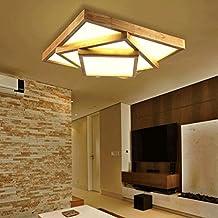 FHK, De estilo japonés luz lámpara del salón troncos de madera nórdicos iluminación de la lámpara del dormitorio de madera del sitio llevaron techo de madera geométrico iluminación de techo ( Tamaño : L )