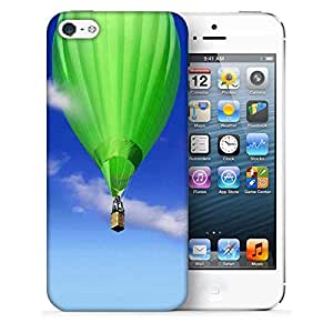 Snoogg Green Parachute Balloons Printed Protective Phone Back Case Cover for Apple iPhone 5/5S