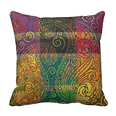 paisley color block throw pillowcase Pillow shams case Cushion Cover 16*16