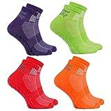 4 Paar bunte Anti-Rutsch-Socken mit ABS-System,ideal für solche Sportarten,wie Joga,Fitness Pilates Kampfkunst Tanz Gymnastik Trampolinspringen.Größen von 42 bis 43, atmende Baumwolle