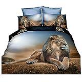 DOTBUY Bettbezug Set 3D Tier, 4 Teilig Bettwäsche Flashion Stil Gemütlich Bettbezug -Set,1 Bettbezug +1 Spannbettlaken +2 Kissenbezug (Löwe)
