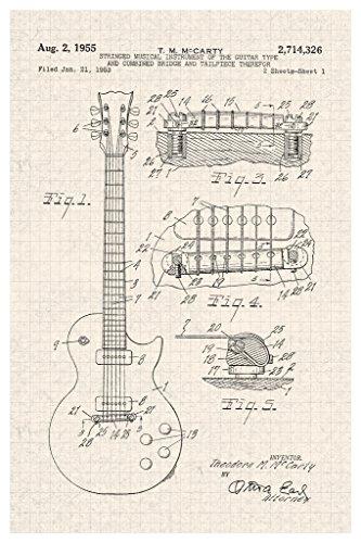 GIBSON LES PAUL E-Gitarre 1955Offizielles Patent Diagramm Poster 30x - Les Paul E-gitarre