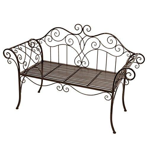 Gartenbank Metall Vintage Park Bank - wunderschöne Garten Bank im Retro Stil 2 Sitzer - mit Ornamenten als Verzierungen
