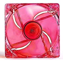 JUSTOP 120mm PC caso de refrigeración ventilador silencioso 4x LED luces transparente Cuchillas con conectores de placa base de 3pines/4pines Molex/4x tornillos incluido rojo rojo LED