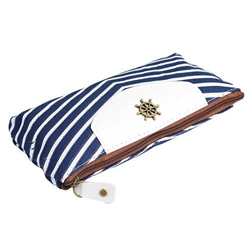 Yingwei Retro Marine Gestreiften Make-up Tasche Portemonnaie Geldbörse, Geldbeutel mit Anker, Ruder, Krone Stil (Blau)
