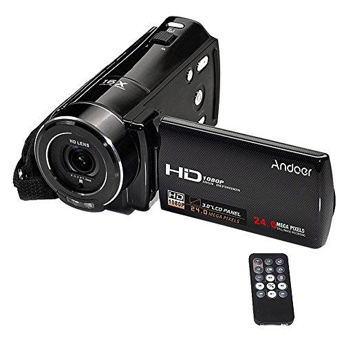 Andoer videocamera digitale full hd 1080p max. 24 mega pixel 16 × zoom digitale con rilevazione visiva di sostegno dello schermo lcd rotativo da 3.0