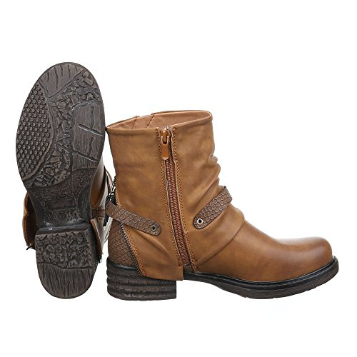 Ital-Design Boots/Bikerboots Damenschuhe Biker Boots Blockabsatz Used Optik Reißverschluss Stiefeletten Camel