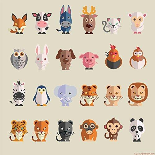 1 rechteckiger Tiere-Aufkleber zur Dekoration von Wänden, Glasprodukten, Fliesen und allen anderen glatten Oberflächen (Preise Panda Hund)