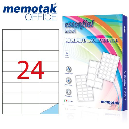 Packung mit 100Blatt A4Etiketten Aufkleber memotak Format in Millimeter 64x 342400Etiketten für Behälter
