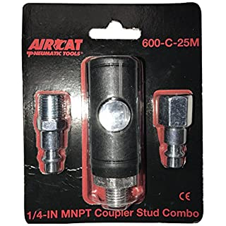 AirCat 600-C-25M 1/4 Npt Safety Coupler Packaged with One Each Male and Female Fittings, Black and Silver, S