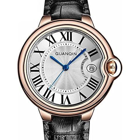 downj marca donne alla moda Casual Orologio al Quarzo Donna Cassa in oro rosa numeri romani orologi in pelle, colore: nero