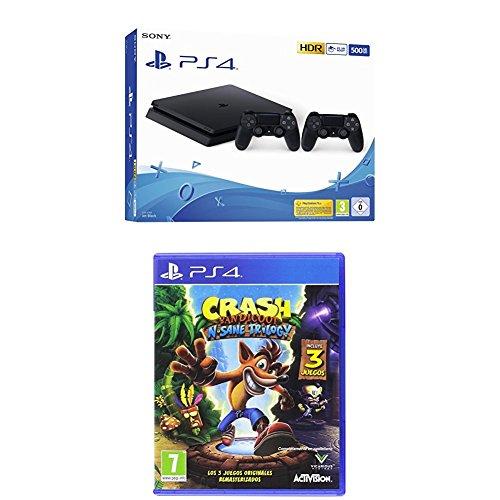 Playstation 4 (PS4) - Consola 500 Gb + 2 Mandos Dual Shock 4 (Edición Exclusiva Amazon) + Crash Bandicoot N.Sane Trilogy - PlayStation 4