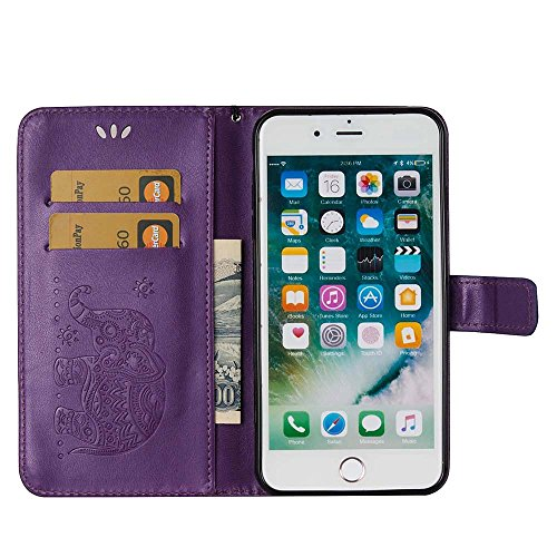 Custodia iPhone 8 Plus[Protezione Libera dello Schermo], ESSTORE-EU Premium Portafoglio Protettiva Cover Custodia, Retrò Elefante Flip Wallet Case Custodia in Pelle per Apple iPhone 8 Plus (2017) Con  Porpora