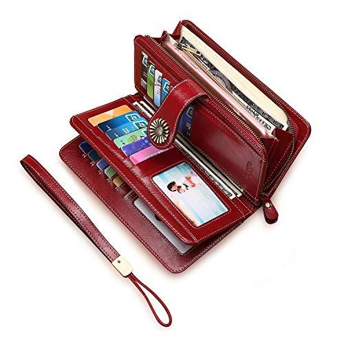 8c759f5a19 Portafoglio Donna Grande, Portamonete con Cerniera, Portafoglio con  Protezione RFID, BAGTECH Porta Carte