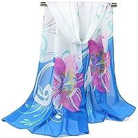 Leisial Verano Pañuelos Gasa de Larga Playa al Aire Libre Bufanda Floral Pintura Chal Suave Gasa de Seda para Mujer,Rojo 155*50cm