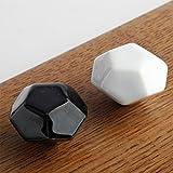 WYQLZ Diamant-Form-Polyeder-keramischer Handgriff-Retro- Hirten-Schrank-Schrank-Tür-Handgriff 2PCS / Satz (ein Weiß und ein Schwarzes)