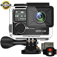 Action Camera GeeKam 4k Dual Screen Underwater 40M WIFI Sports Cam Waterproof Camcorder Ultra HD 170°Wide View Angle Remote Control and 2 Rechargeable 1050mAh Batteries with Accessories Kit-K3R
