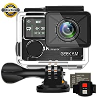 Action Camera GeeKam 4k Dual Screen Underwater 100ft WIFI Sports Cam Waterproof Camcorder Ultra HD 170°Wide View Angle Remote Control and 2 Rechargeable 1050mAh Batteries with Accessories Kit-K3R