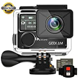 Action Kamera GeeKam 4k Wasserdichte 30M Sport Cam Digitale Wifi Doppelbildschirm Ultra full HD...