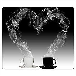 Decorwelt Couvercle pour plaque de cuisson universelle en céramique, à induction, protection anti-éclaboussures, motid tasses à café, Verre, 60x52 cm