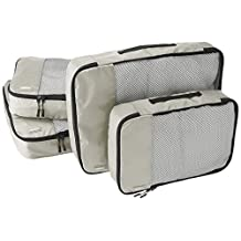 AmazonBasics 4-Piece Packing Cube Set - 2 Medium and 2 Large, Gray