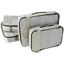 AmazonBasics Kleidertaschen-Set, 4-teilig, 2 mittelgroße und 2 große Kleidertaschen, Grau