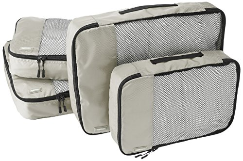 AmazonBasics Lot de 4sacoches de rangement pour bagage 2xTailleM/2xTailleL, Gris