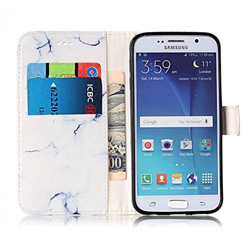 Galaxy S6 Coque Mode,Coque Cuir Etui Pour Samsung Galaxy S6,Ekakashop Bookstyle Flip Cover Clapet Rabat Shell Couvercle Magnétique Portefeuille Housse Protectrice Wallet Case Etui avec Motifs de Azalé Marbre Blanc