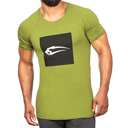 Grün Training Top T-shirt (SMILODOX Slim Fit T-Shirt Herren 'Even' | Kurzarm | Casual Top | Sport Fitness Gym & Training - Trainingsshirt - Sportshirt, Farbe:Grün, Größe:S)