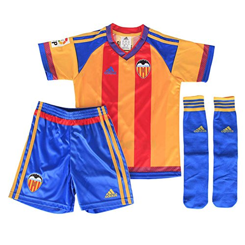 adidas Kinder Trainingsanzug Valencia A Minikit Rot/Gelb, 128 (Kinder Anzüge Fußball Für)