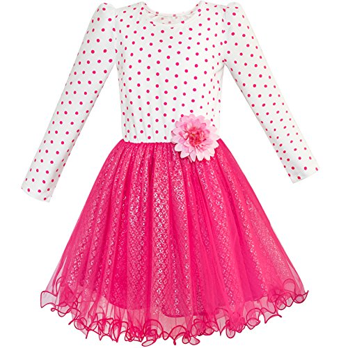 Sunboree Mädchen Kleid Rose Rosa Lange Ärmel Punkt Blume Tutu Kleiden Gr. 116
