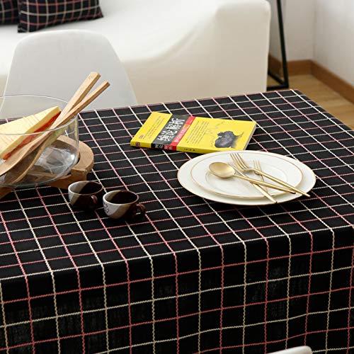 JJHR Tischwäsche Bestickte Quadratische Karierten Stoff Tischdecke Baumwolle Und Leinen Rechteckig Einfarbig Tisch Couchtisch Tuch