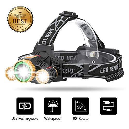 OUTERDO LED Stirnlampe, Zoom Stirnlampe 6000 Lumen Kopflampe mit USB wiederaufladbaren Batterien, Kopf Lichter wasserdicht, Stirnleuchte für Nacht Angeln Laufen Jagd Lesen Camping Wandern