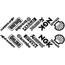 14 Pegatinas para cárter de Moto, diseño de patrocinadores, Color Negro!