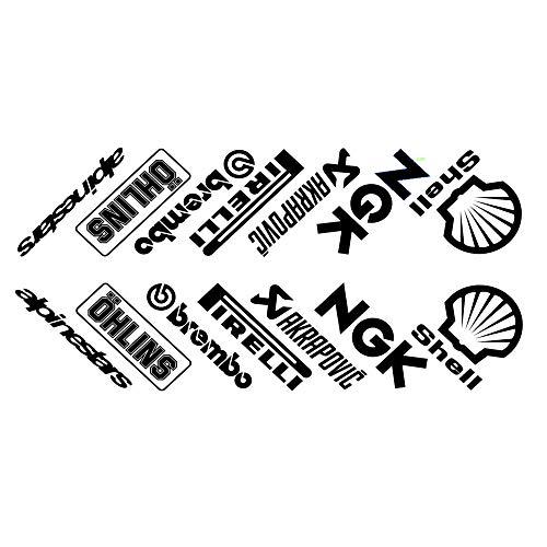 ! 14 Pegatinas para cárter de Moto, diseño de patrocinadores, Color Negro