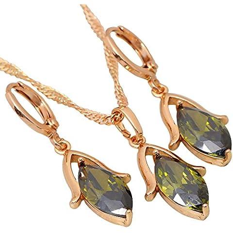 Graceful Verde Zircon Peridot joyería Sets pendientes/pendientes bañados en oro amarillo 18K S219mayorista y minorista