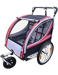 geek-house Gemelos niños Kids doble versátil bicicleta remolque Multi-Protection silla de paseo todo terreno y capacidad de carga de Super, rojo