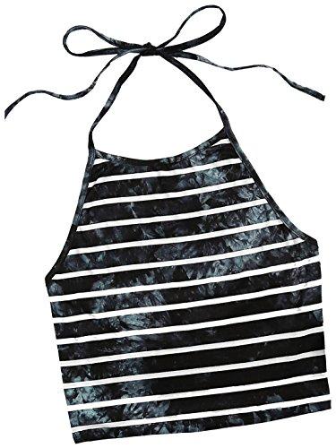 ROMWE Damen Tie Dye Neckholder TrägerCrop Top Sommer Schulterfrei Bauchfrei Crop Top Blau Streifen S (Für Neckholder-tops Frauen)