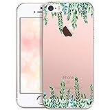 OOH!COLOR Bumper Compatible pour iPhone Se, iPhone 5s, iPhone 5 Housse Coque Silicone Transparente Souple Etui Soft Case Ultra Slim Fine Cover avec Motif Élégance Verte (JETABLE)
